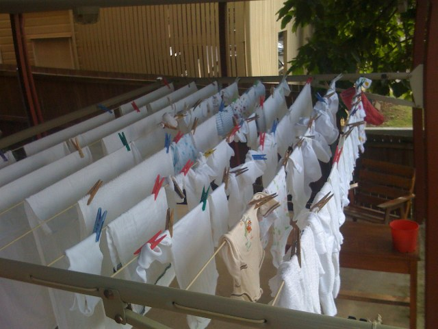 the first line full of nappies - this will become a common sight at our house..