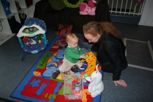 first day at daycare - playing with the blocks