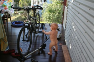 bike maintenance by the baby