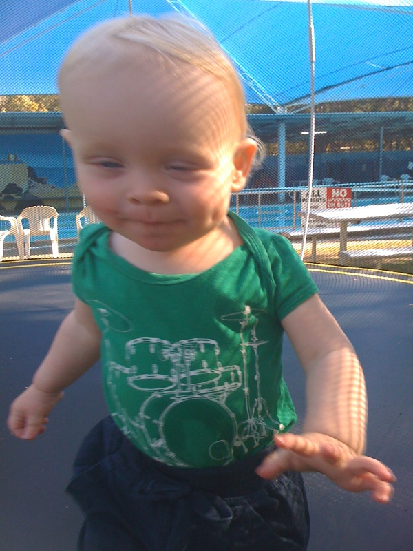 rocking the jumping on the trampoline at 15 months.