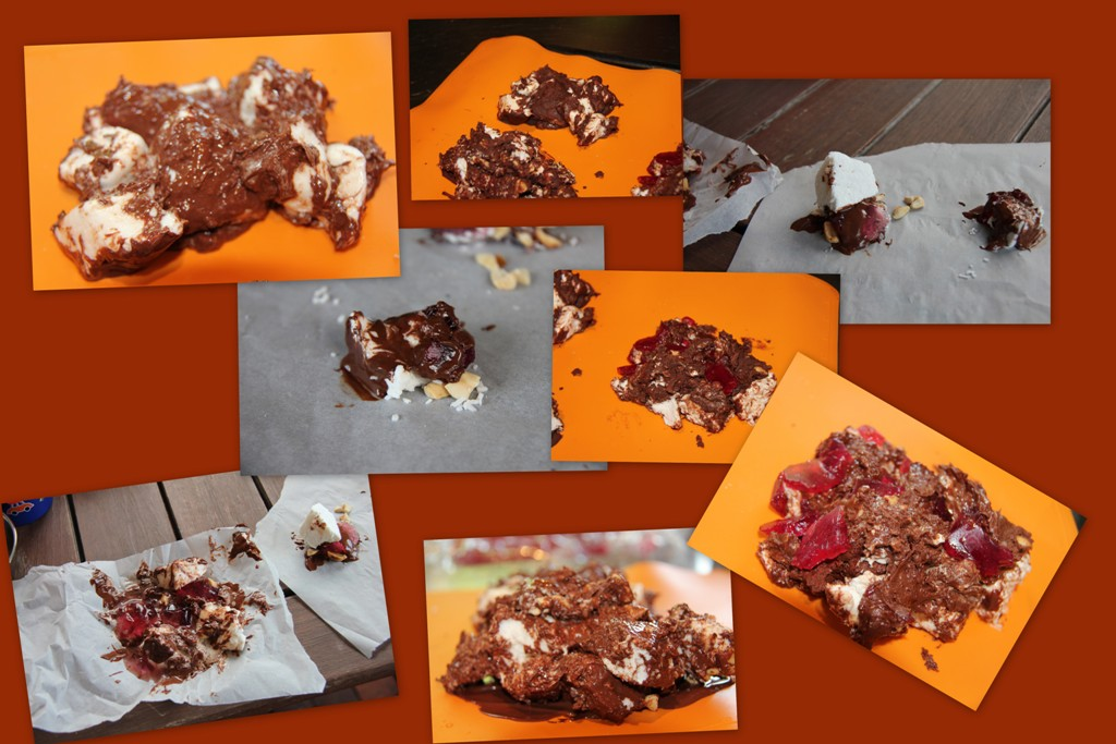 attempts to combine ingredients to an edible rocky road