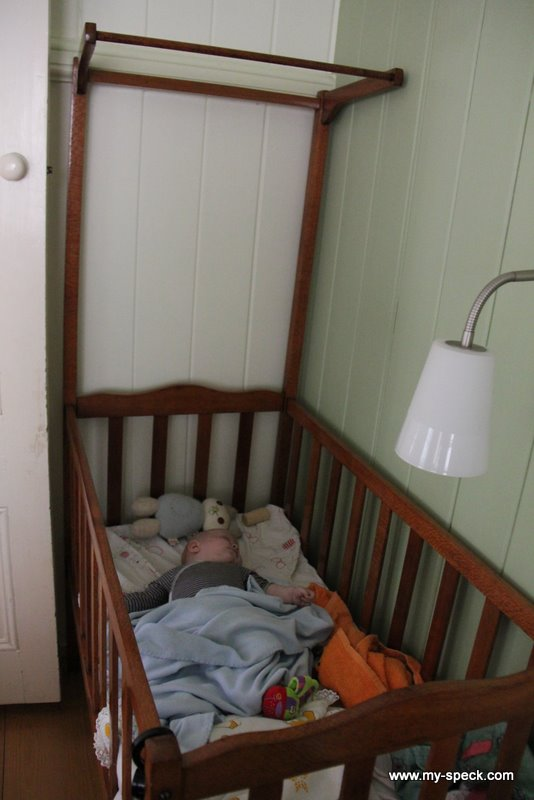 the sleeping babe - I got her cot out a week ago so she has her own space in our room.