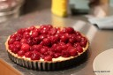 open-faced cherry tart: fresh cherries