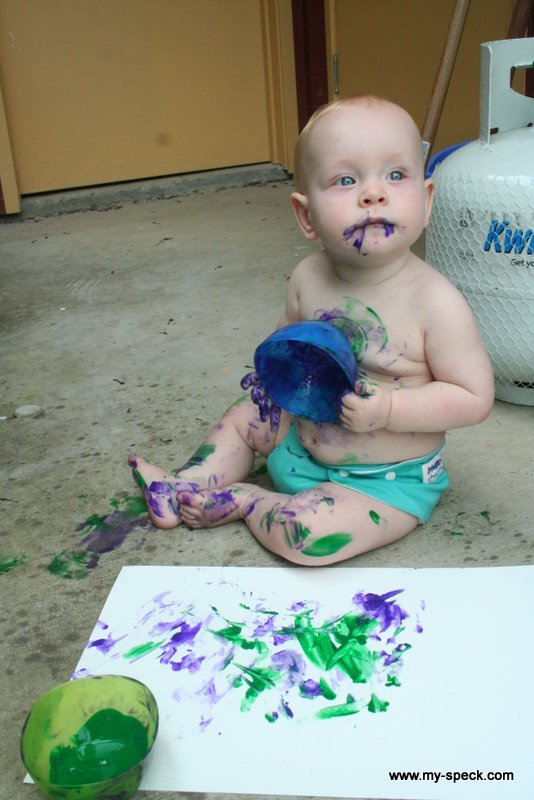 Oscar at 8 months - eating paint and crawling about